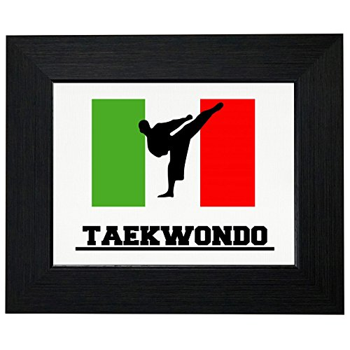 Italy Olympic - Taekwondo - Flag - Silhouette Framed Print Poster Wall or Desk Mount Options by Royal Prints