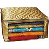 Kuber Industries™ Saree cover large size upto 15 Sarees in Golden Satin / Wedding Gift