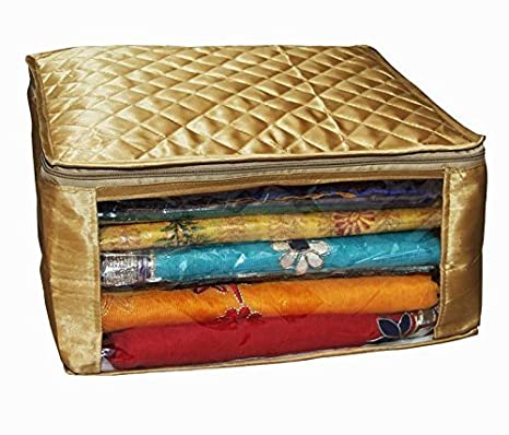 Kuber Industries 6 Piece Satin Saree Cover Set, Golden