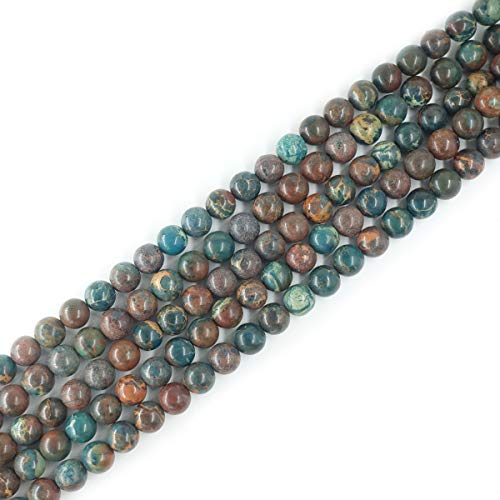 12mm Round Blue Imperial Jasper Beads Semi Precious Gemstone Beads for Jewelry Making Strand 15 Inch (31-33pcs)