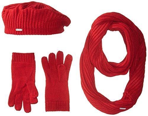 Calvin Klein Women's 3 Piece Rib Knit Scarf Set, Rouge, One Size (1 Piece Knit)