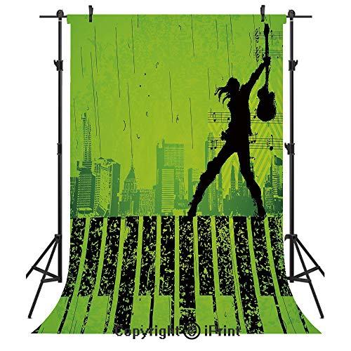 (Popstar Party Photography Backdrops,Music in The City Theme Singer with Electric Guitar on Grunge Backdrop,Birthday Party Seamless Photo Studio Booth Background Banner 3x5ft,Lime Green Black)