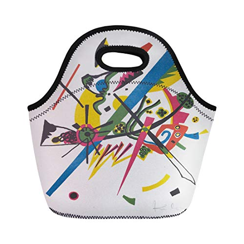 Semtomn Lunch Tote Bag Kleine Welten I By Vasily Kandinsky 1922 Russian German Reusable Neoprene Insulated Thermal Outdoor Picnic Lunchbox for Men Women