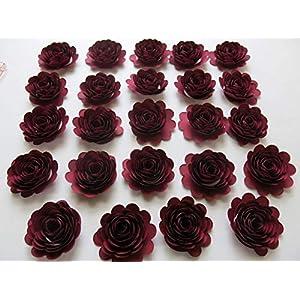 24 Dark Red Carnations, 1.5 Inch Scalloped Burgundy Rose Paper Flowers, Garnet Flowers 2