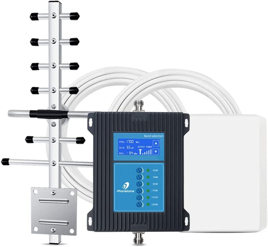 5G Ready 7-Band Cell Phone Signal Booster for Home Office and Cabin - Mobile Cellular Repeater Kit Boosts All Carriers 5G 4G LTE 3G for Multiple Users Up to 5,000 Sq Ft.