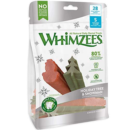 Whimzees Holiday Dog Dental Treats Variety Pack, Small Snowman & Tree, Bag Of 28