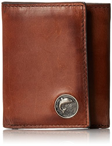 Leather Bass Wallet - Weber's Leathers Men's Caramel Brown Trifold with Trout Concho, Caramel Brown, One Size