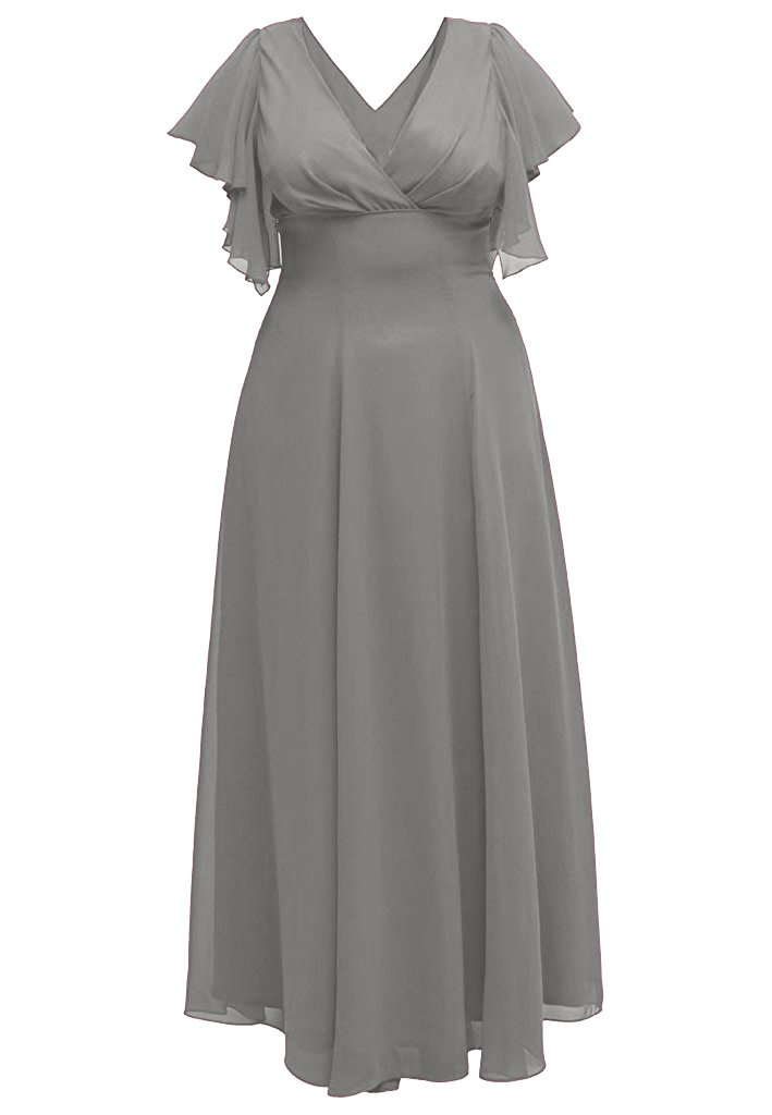 Charm Bridal Long Plus Size Chiffon Deep V Neck Mother of the Bride Summer Dress -22W-Grey