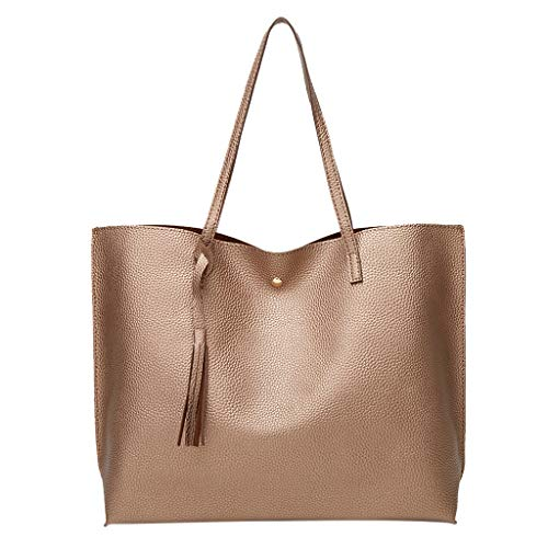 Claystyle Women Fashion Fringe Solid Large Capacity Shopping Shoulder Tote Handbag Bags Coffee