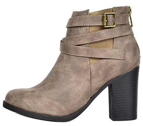 TOETOS Damen Chicago Chunky Heel Ankle Booties Taupe-3