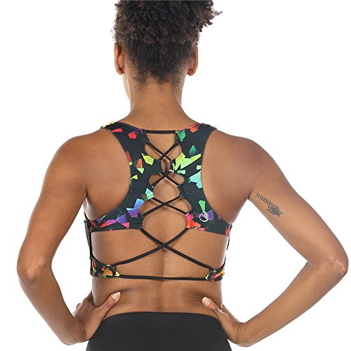 icyzone Womens Workout Yoga Clothes Activewear Printed Racerback Sports Bras (M, Fantastic)