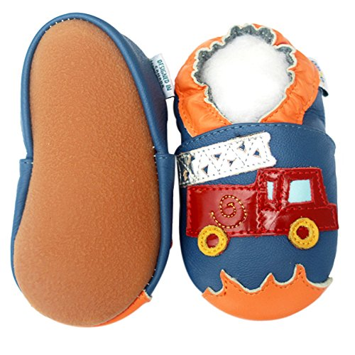 Soft Sole Leather Baby Crib Shoes Infant Toddler Children Kid Boy Gift Fire Truck Rubber Sole