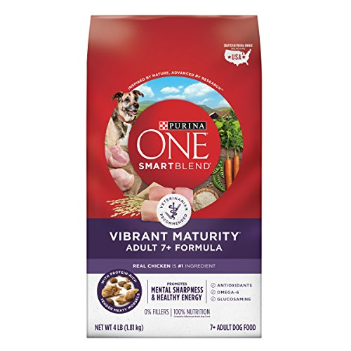 Purina ONE SmartBlend Vibrant Maturity Adult 7+ Formula Dry Dog Food – 4 lb. Bag (Pack of 6) For Sale