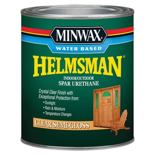 Minwax 630510444 Water Based Helmsman Spar Urethane, quart, Semi-Gloss (Varnish Outdoor Furniture Wood)