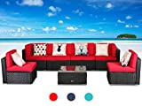 LUCKWIND Patio Conversation Sectional Sofa Chair - (7-Piece Set) All-Weather Black Checkered Wicker Rattan Seating Red Cushion Patio Modern Glass Coffee Table Outdoor Accend Pillow 300lbs