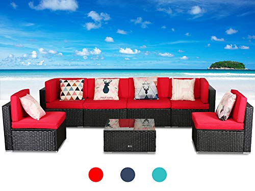 (LUCKWIND Patio Conversation Sectional Sofa Chair - (7-Piece Set) All-Weather Black Checkered Wicker Rattan Seating Red Cushion Patio Modern Glass Coffee Table Outdoor Accend Pillow 300lbs)