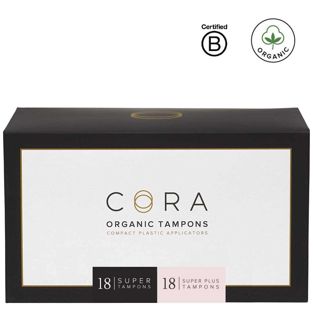 Cora Organic Cotton Tampons with BPA-Free Plastic Compact Applicator; Chlorine & Toxin Free - Variety Pack - Super/Super Plus (36 Count) by Cora