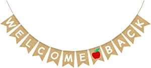 FAKTEEN Pre-Strung Welcome Back Banner for Back to School Classroom Party Decorations, First Day of School Apple Garland Bunting