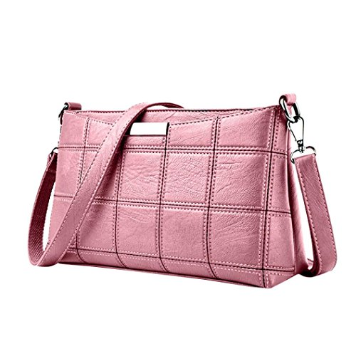 FitfulVan Clearance! Hot sale! Bags, FitfulVan Women Handbag Leather Plaid Messenger bag Shoulder Small square package (Pink)