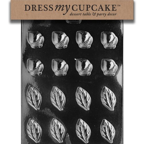 Dress My Cupcake DMCAO068 Chocolate Candy Mold, Acorns and Leaves for Wreath