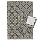 Roostery Hexagon Tea Towels Reverb Hexagon On Steel In Gray And Blue by Joanmclemore Set of 2 Linen Cotton Tea Towels