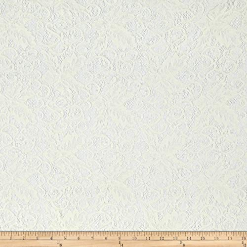 Telio Lolita Nylon Stretch Corded Lace Ivory, Fabric by the Yard