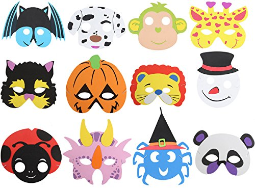 6MILES 12 PCS Assorted Foam Cartoon Animal Masks for Birthday Halloween Party Favors Jungle Dress-Up Costume Cosplay]()