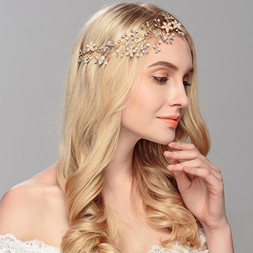 Freshwater Pearl and Crystal Bridal Headband Hair Vine - Handmade Design Silvery (#1 gold) Delicate Vine Design
