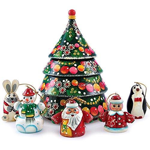 Matryoshka Christmas Tree Nesting Doll with Christmas Ornaments New Beautiful Pink Wooden Russian Nesting Dolls Gift Matreshka Handmade Hand-painted Babushka ()