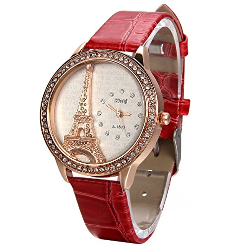 JewelryWe Mother Day Gift Bling Rhinestone Accented Eiffel Tower Red Leather Watch Ladies Women - Bracelet Ladies Watch Red