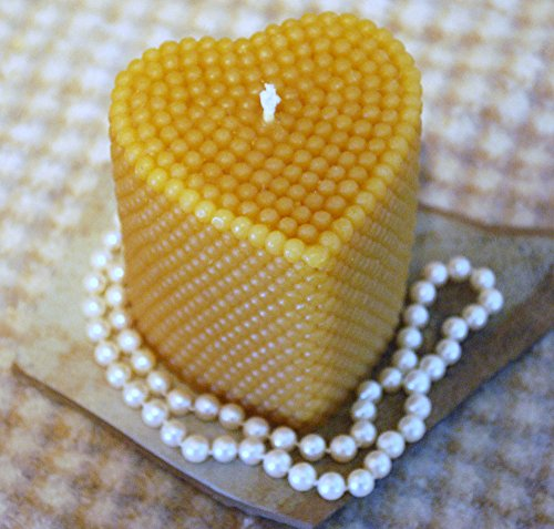 Heart Shaped Pillar Candle - Pure Beeswax Pearl Covered Heart Shaped Pillar Candle