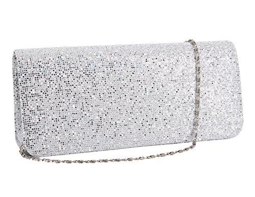 Gabrine Womens Evening Shoulder Bag Handbag Clutch Purse Glitter Shiny Sequins for Wedding Prom Party(Silver) by Gabrine