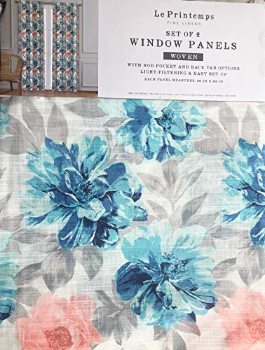 Le Printemps Window Curtains Floral Pattern in Shades of Blue Gray Pink Taupe on Cream Panels Drapery, 50 Inches by 84 Inches