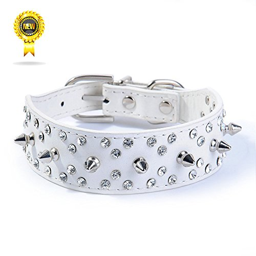 Wellbro Deluxe Fashion Spikes and Rhinestones Studded PU Leather Dog Collar, Adjustable Bullet Rivets Pets Collar, Durable and Soft, 16.8
