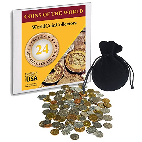 Zaioo World Coin Collectors ♥ 24 Foreign Coins from All Over The World - Coins of The World - Great Gifts for Teens, Kids and Adults