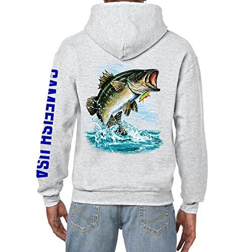 Gamefish USA Pullover Fleece Hooded Fishing Sweatshirt Bass Fishing Hoodie (ASH GRAY, Small)