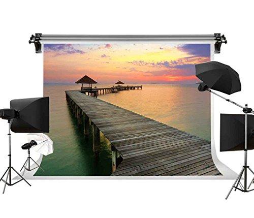 GESEN Summer Sunset Backdrop 7X5ft Colorful Seaside Wooden Bridge Gazebo Photography Background Theme Party Backgdrop Photo Shooting Props GYGE067