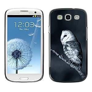 ELEGO Prima Delgada SLIM Casa Carcasa Funda Case Bandera Cover Armor Shell PC / Aliminium Protection /The White Night Owl /Samsung Galaxy S3