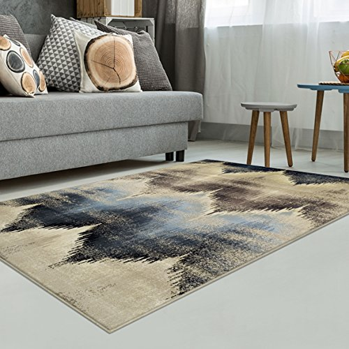 Superior Cadwell Collection Area Rug, 10mm Pile Height with Jute Backing, Fashionable and Affordable Rugs, Designer Inspired Ikat Chevron Pattern – 4 x 6
