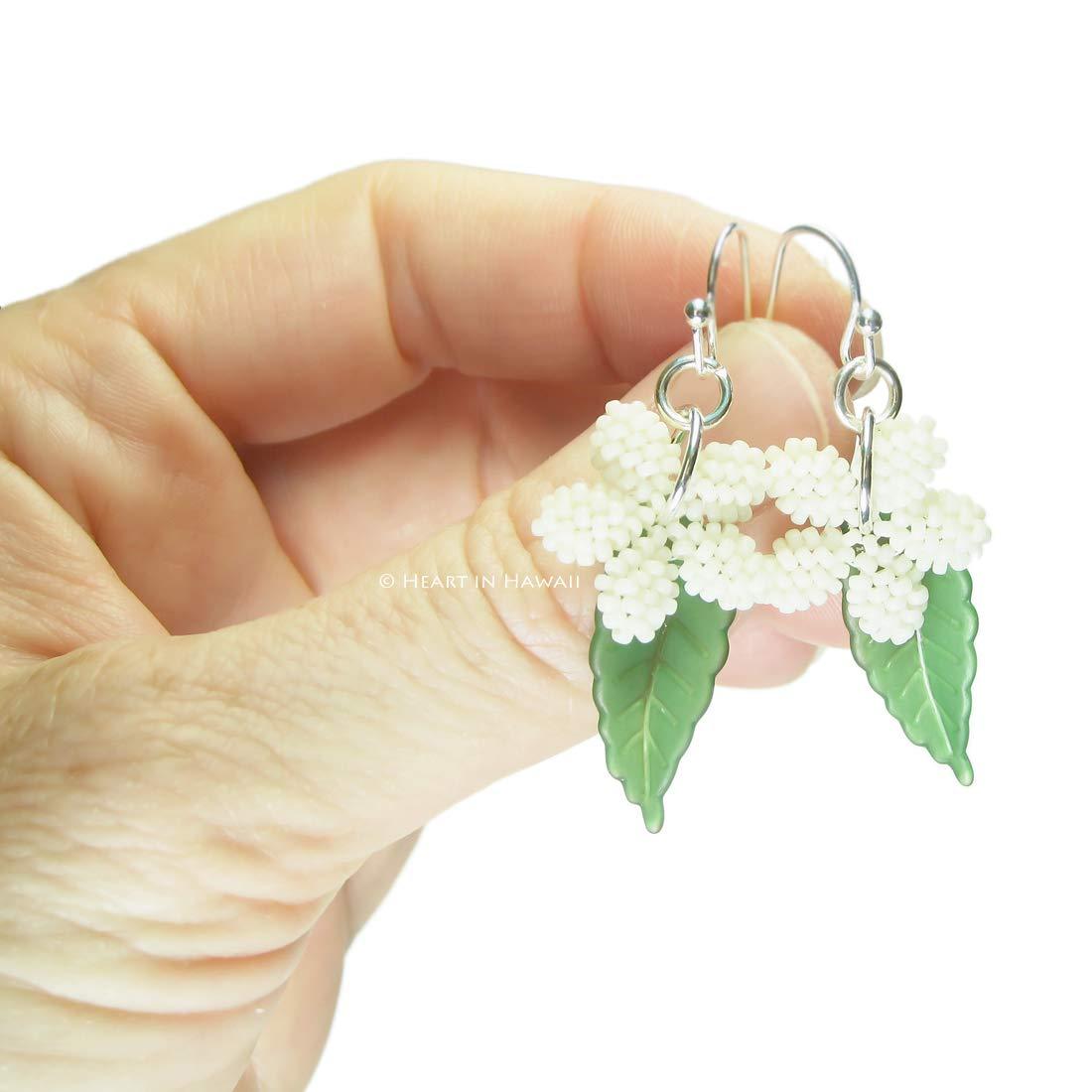 Off White Heart in Hawaii Plumeria Flower and Tropical Leaf Dangles