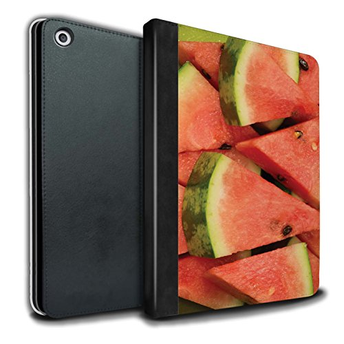 STUFF4 PU Leather Book/Cover Case for Apple iPad 9.7 (2017) tablets / Watermelon/Sliced Design / Juicy Fruit (Sliced Leather)