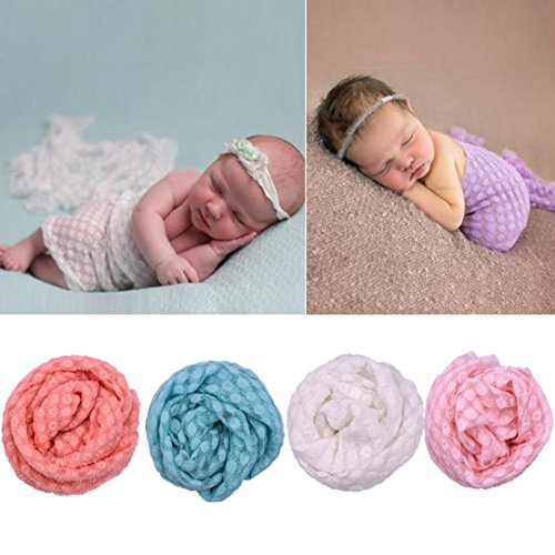 Muxika Newborn Baby Boy Girl Lace Photography Props Blanket Wrap Posing Swaddle Cover (White)