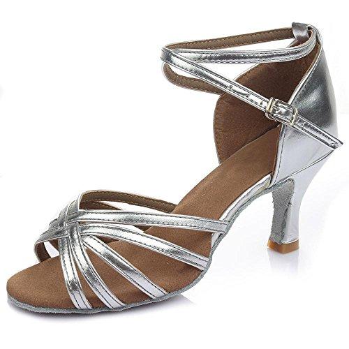 YFF La mujer profesional Zapatos de Baile Baile latino,Plata señoras tacón 5CM,8