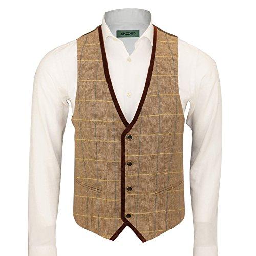 XPOSED Mens Vintage Herringbone Tweed Check Velvet Trim Retro Waistcoat Oak Brown Grey [Chest UK 40 EU 50,Light (Trim Tweed Suit)