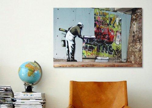 ICanvasART Banksy Graffiti Wallpaper Hanging Canvas Art Print Poster 2071 12x8