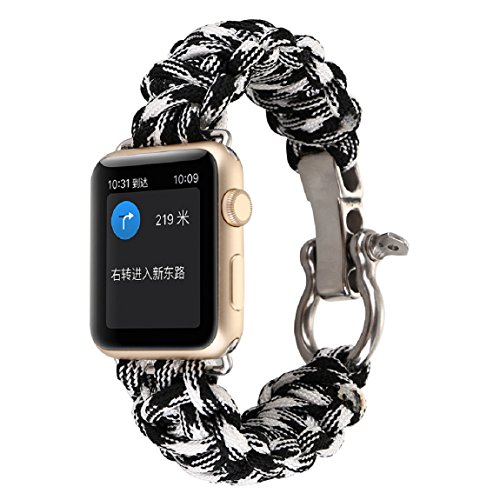 (DKmagic New Nylon Rope Survival Bracelet Watch Band for Apple Watch 42mm (J))