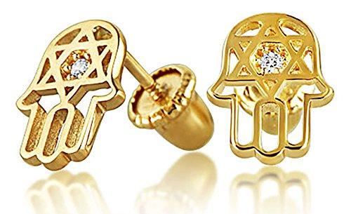 (Tiny Minimalist CZ Accent Hamsa Star Of David Jewish Bat Mitzvah Stud Earrings For Teen Real 14K Gold Screwback)