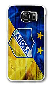 Samsung Galaxy S6 Edge Case, Hard Crystal Clear Transparent Plastic Bumper Case for Samsung Galaxy S6 Edge with Back Photo Blue Yellow Wood Apoel Logo