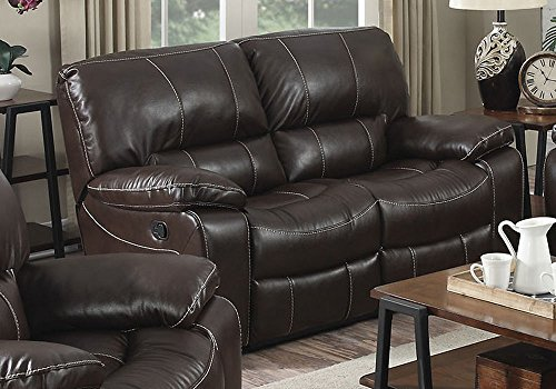 1PerfectChoice Kimberly Comfort 2-Seater Lazy Boy Motion Recliner Loveseat Brown Leather Aire