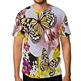 Lovexue Country Garden Vintage Floral Flowers Butterfly TShirtsforMenTopTeeCrewNeck Active Tshirts